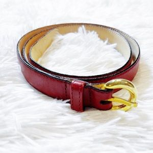Christian Dior Red Classic Belt Brass Accents sz28